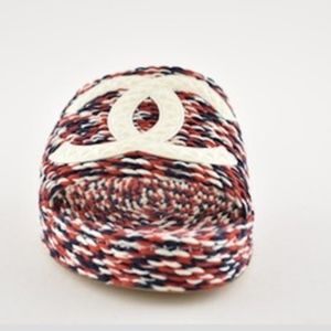 Chanel 18P Red Blue White Cord CC Tweed Sandal